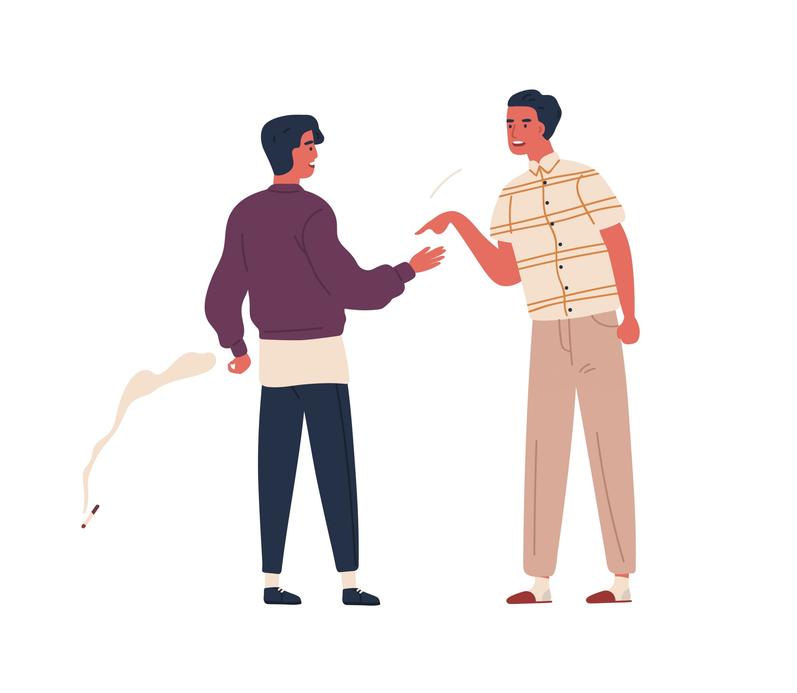 Furious father scold teenager son to smoking cigarette vector flat illustration. Dispute between angry dad and smoker adolescent guy isolated on white background. Male teen and parent conflict