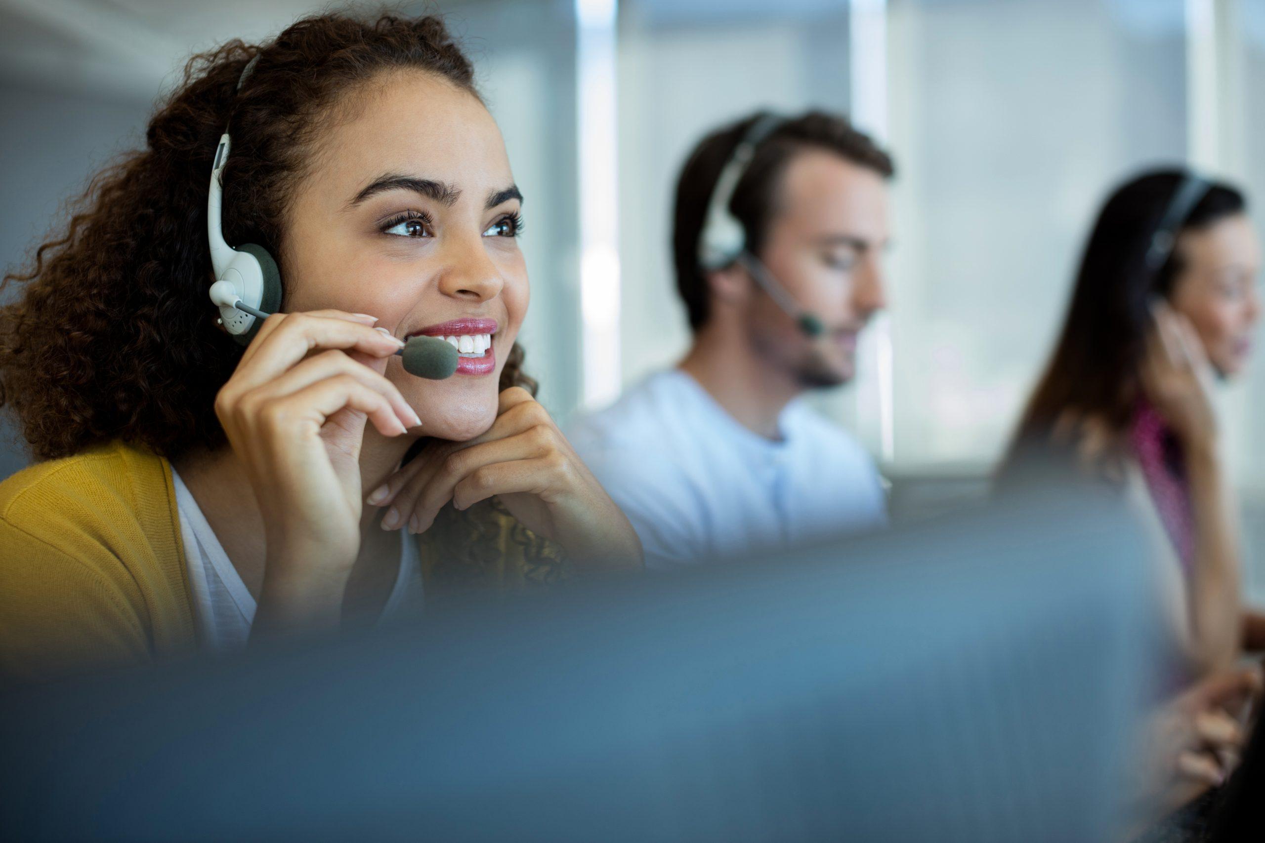 Multi-ethnic customer service executive working